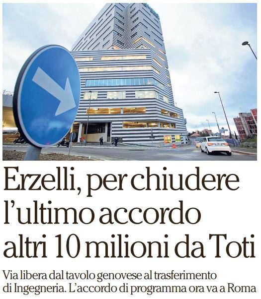 Erzelli, per chiudere l'ultimo accordo altri 10 milioni da Toti